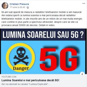 fakenews marca Cristian Presura- Lumina Soarelui este mai periculoasa decat 5G