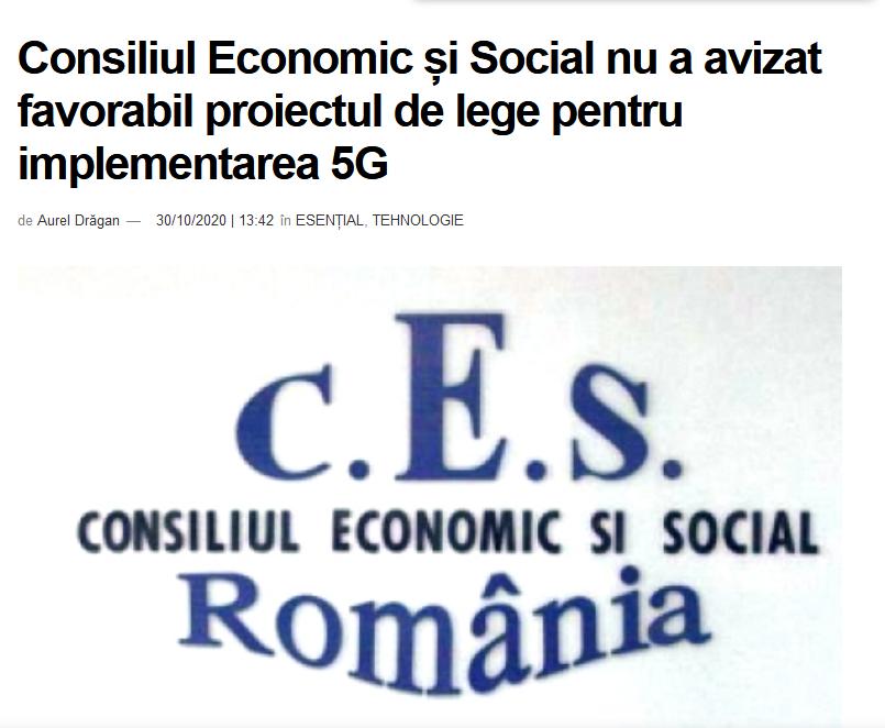 CES: Proiectul de lege 5G nu poate fi adoptat în actuala formă